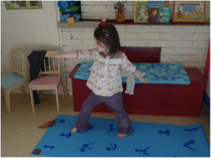 Ruby my daughter aged 3 ¾ Starting Warrior Pose
